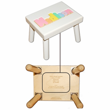 personalized name stool - white with pastel colors