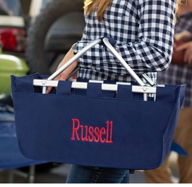 personalized navy market carry all tote
