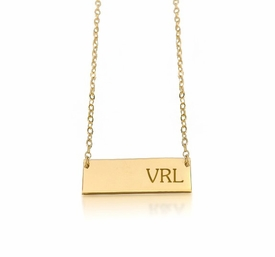 personalized new bar monogram necklace 24k gold plated