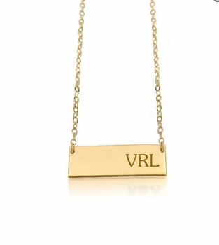 personalized new monogram bar necklace 14k yellow gold