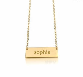 personalized new name bar necklace 14k yellow gold