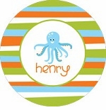 personalized octopus boy plate (style 2p)