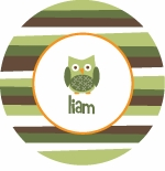 personalized owl boy plate (style 4p)
