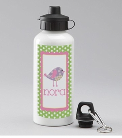 personalized patchwork birdie water bottle