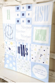 personalized patchwork quilt blanket (boy pastel)