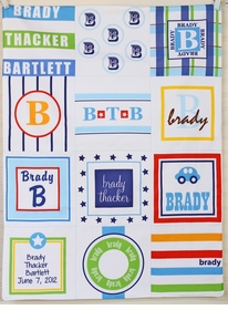 personalized patchwork quilt blanket (boy primary)