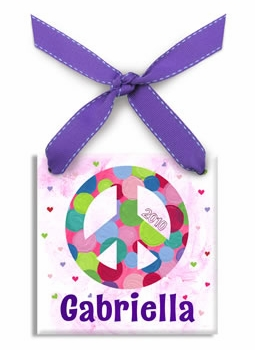 personalized peace christmas ornament