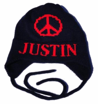 personalized peace sign earflap hat