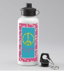 personalized peace sign water bottle