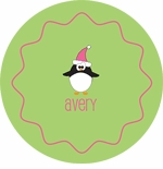 personalized penguin holiday plate (style 1p)