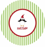 personalized penguin holiday plate (style 2p)