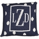 personalized pillow with large polka dots and border (thin inner)