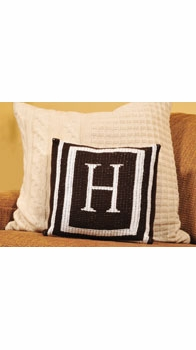 personalized pillow with monogram and double border