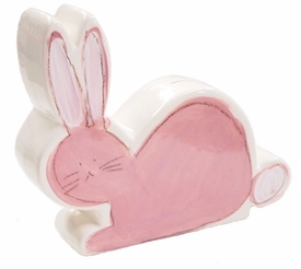 personalized pink bunny coin bank