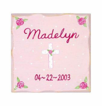 personalized pink cross plaque