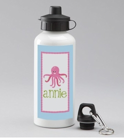 personalized pink octopus water bottle