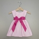personalized pink pique dress with hot pink sash