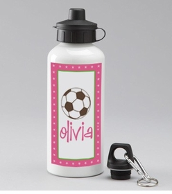 personalized pink soccer water bottle