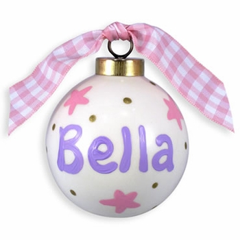 personalized pink stars christmas ball ornament