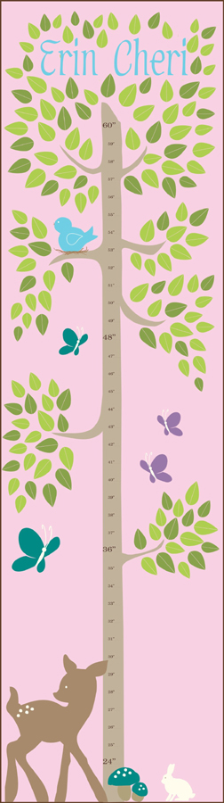 Personalized Tree With Animals Canvas Growth Chart Featured At