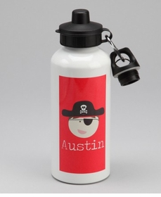 personalized pirate bottle for boys - red