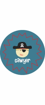 personalized pirate boy plate (style 2p)