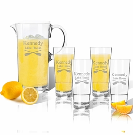 Personalized Pitcher and High Ball Glasses 16 oz (Set of 4) (unbreakable)