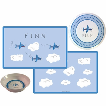 personalized placemat - airplanes