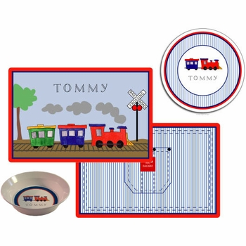 personalized placemat - all aboard