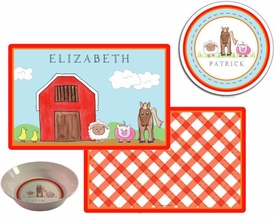 personalized placemat - down on the farm