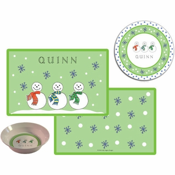 personalized placemat - jolly snowmen