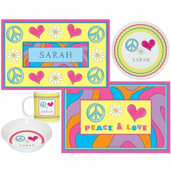 personalized placemat - peace and love