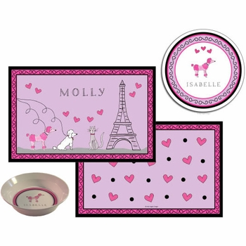 personalized placemat - poodles in paris