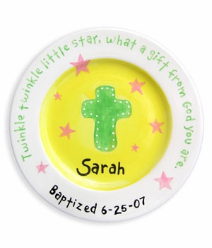 personalized plate - christening girl