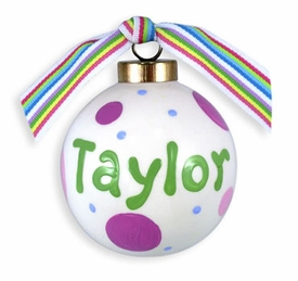personalized polka dot ball ornament (girl)