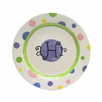 personalized polka dot plate
