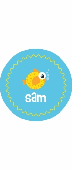 personalized puffer fish plate (style 2p)