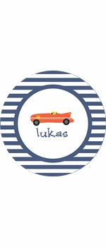 personalized race car boy plate (style 2p)