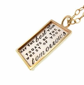 personalized rectangle rimmed charm necklace