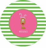 personalized reindeer holiday plate (style 1p)