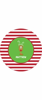 personalized reindeer holiday plate (style 2p)