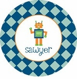 personalized robot boy plate (style 2p)