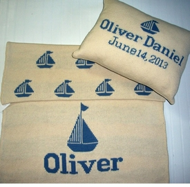 personalized sailboat blanket