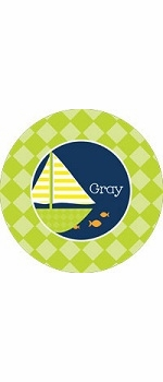 personalized sailboat boy plate (style 3p)