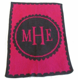 personalized scalloped monogram stroller blanket