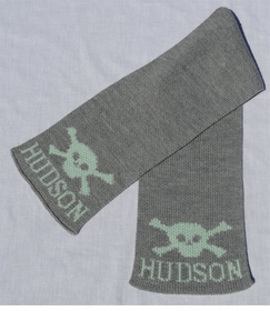 personalized scarf with name and skull and crossbone