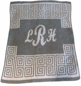 personalized scroll with script monogram blanket