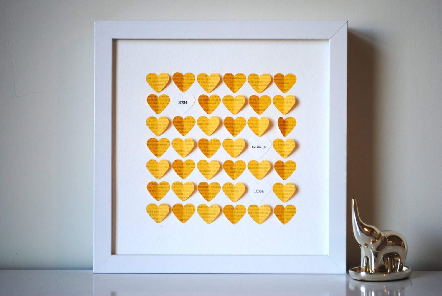 personalized shadow box heart frame - yellow hearts