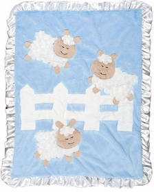 personalized sheep baby blanket - blue
