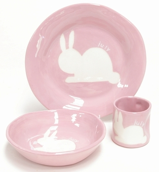 personalized silhouette bunny dish set (set options available)